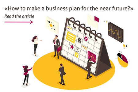 Isometric Template banner article business plan for the near future for businessmen, teamwork.