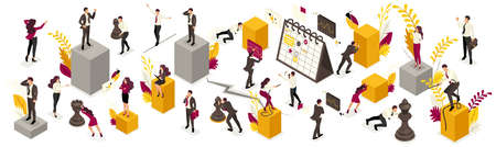 Isometric Big Set of business people in different work situations.