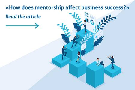 Isometric Template banner article mentorship and its impact on business success. Illustration