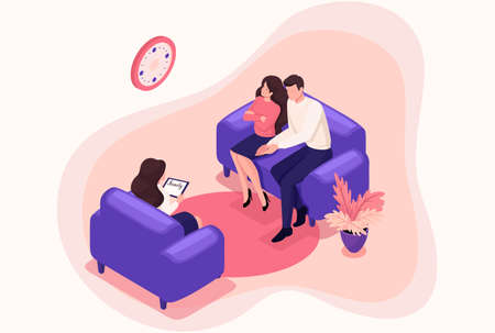 Isometric spouses at the reception of psychologist, conflict in the family. Concept for web design. Vettoriali