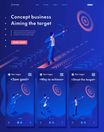 Isometric Website Template Landing page Businessman aiming at the target, Business concept. Stock Illustratie