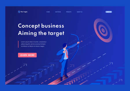 Isometric Businessman aiming at the target, Business concept. Template Landing page.