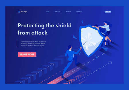 Isometric businessmen hiding behind a shield from attack. Template Landing page.