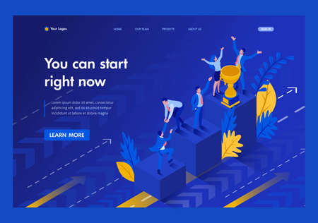 Isometric Start to grow and succeed right now, Business concept. Template Landing page. 向量圖像