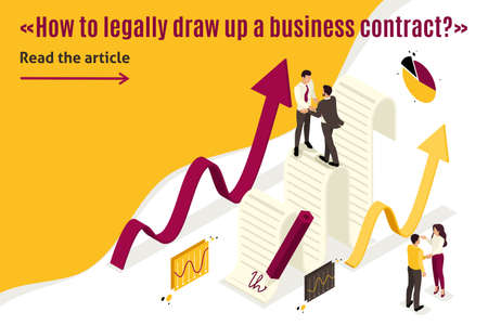 Isometric Template banner article Business agreement partners, growth revenue schedules. Vector Illustratie