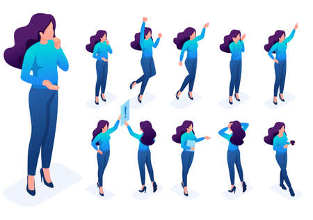 Isometric set 4 of poses and gestures of the character, woman. To create vector illustrations, isolated background. 일러스트