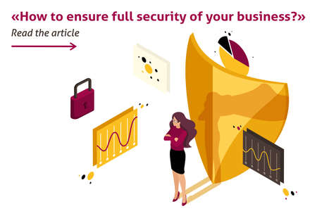 Isometric Template banner article how to ensure full safety of your business, lawyer girl. Ilustrace