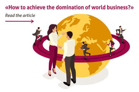 Article de bannière de modèle isométrique domination mondiale des affaires, accord de grande entreprise. Vecteurs