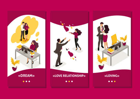 Isometric Template app love affair at work, colleagues shocked love colleagues, smartphone apps. Ilustrace