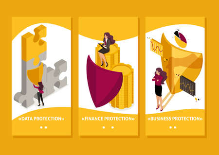 Isometric Template app how to ensure full safety of your business, lawyer girl, smartphone apps.