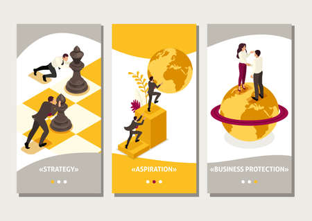Isometric Template app world business domination, big business agreement, smartphone apps. Vectores