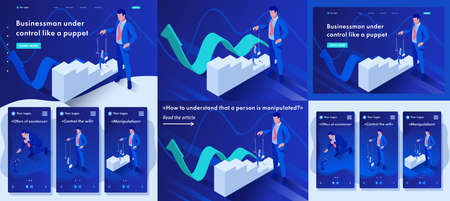 Set Template article, Landing page, app design, Isometric The businessman is under control like a puppet.