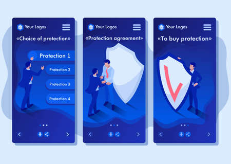 Isometric Template app businessmen hiding behind a shield from attack, smartphone apps.