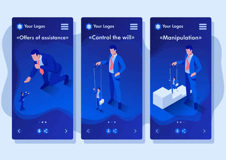 Isometric Template app The businessman is under control like a puppet, smartphone apps. Illustration