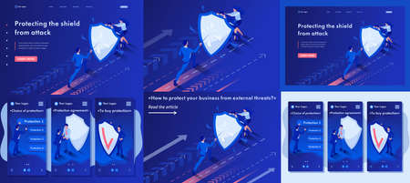 Set Template article, Landing page, app design, Isometric businessmen hiding behind a shield from attack.