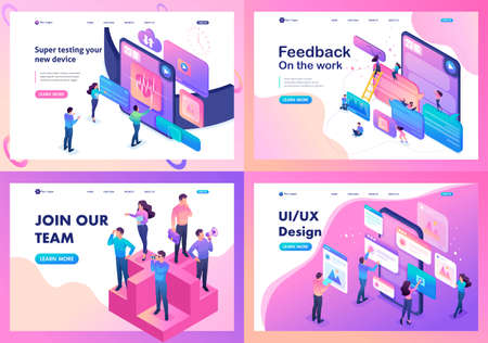 Isometric bright concept testing device, feedback, ux design, join our team. Template Landing page.