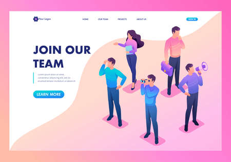 Isometric bright concept we are looking for new people to our team. Template Landing page. Illustration