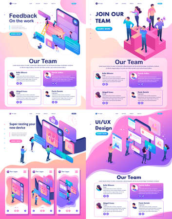 Set Isometric Website Template Landing page concept testing device, feedback, ux design, join our team.