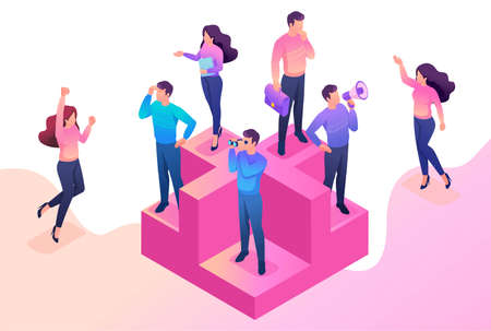 Isometric bright concept we are looking for new people to our team. Concept for web design. Illustration