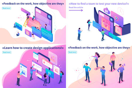 Isometric Template banner article bright concept testing device, feedback, ux design, join our team.