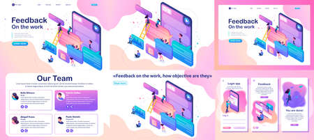Set Template article, Landing page, app design, Isometric bright concept users write comments, recall and feedback about services.