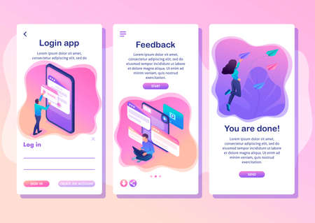 Isometric Template app bright concept users write comments, recall and feedback about services, smartphone apps.