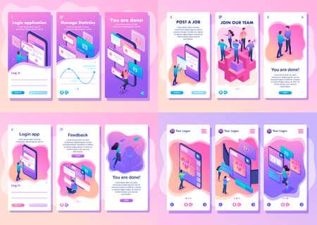 Stel isometrische sjabloon-app in, helder concept-testapparaat, feedback, ux-ontwerp, word lid van ons team, smartphone-apps. Vector Illustratie