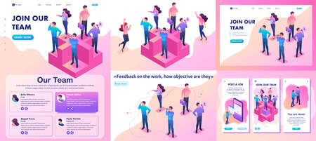 Set Template article, Landing page, app design, Isometric bright join our team, we need professionals. Stock Vector - 124168031