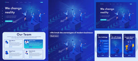 Set Template article, Landing page, app design, Isometric we change reality, we destroy your view of modern business. Illustration