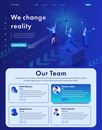 Isometric Website Template Landing page we change reality, we destroy your view of modern business. Ilustração