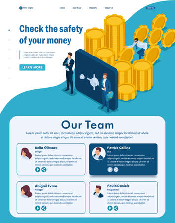 Isometric Website Template Landing page Protect your funds from external threats, theft.
