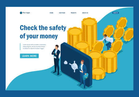 Isometric Protect your funds from external threats, theft. Template Landing page.