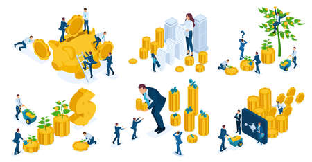 Set of business concepts on investments, investors, bankers, managers, businessmen.