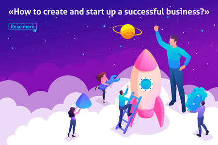 Isometric Template banner article Bright concept start up a new business by young entrepreneurs.