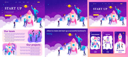 Set Template article, Landing page, app design, Isometric Bright concept start up a new business by young entrepreneurs.