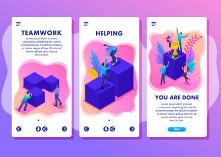 Isometric Template app Bright concept successful young team, upward movement, smartphone apps.