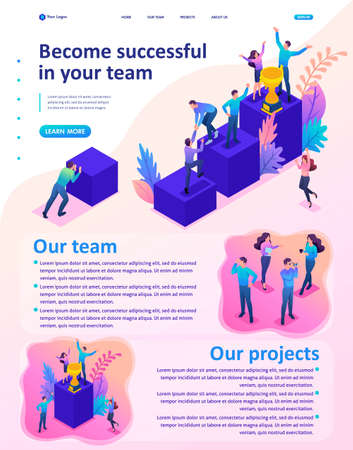 Isometric Website Template Landing page Bright concept successful young team, upward movement.