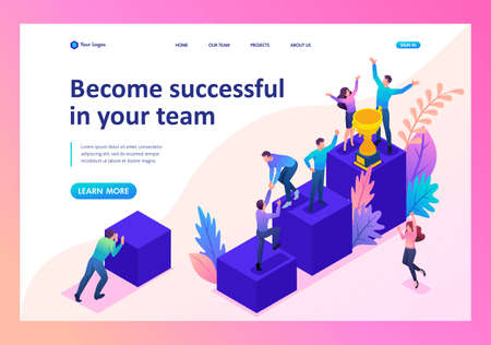 Isometric Bright concept successful young team, upward movement. Template Landing page.