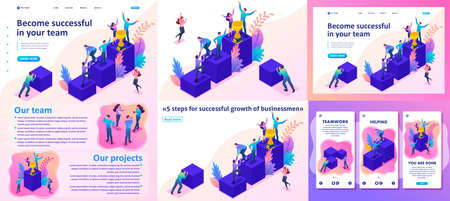 Set Template article, Landing page, app design, Isometric Bright concept successful young team, upward movement.