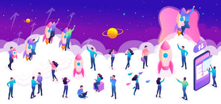 Isometric set of young people during startup a project for create a bright vector illustration.
