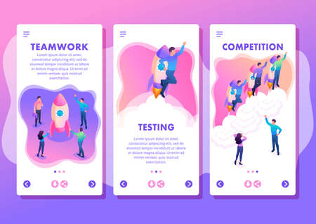 Isometric Template app bright concept young entrepreneurs compete for leadership, smartphone apps.