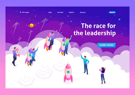 Isometric bright concept young entrepreneurs compete for leadership. Template Landing page.