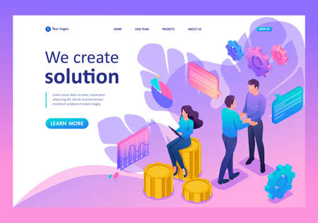 Isometric Bright concept teamwork to create a solution. Template Landing page.