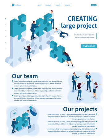 Isometric Website Template Landing page young entrepreneurs team working on the creation of the project.