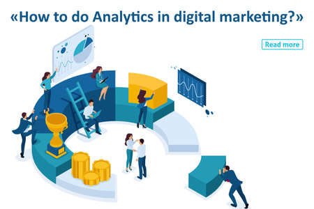 Isometric Template banner article Businessmen make a report on digital marketing.