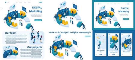 Set Template-Artikel, Landing Page, App-Design, isometrische Geschäftsleute erstellen einen Bericht über digitales Marketing.