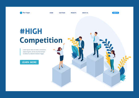 Isometric businessmen on a pedestal of superiority, successful leader. Template Landing page.