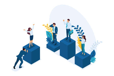 Isometric businessmen on a pedestal of superiority, successful leader. Concept for web design.