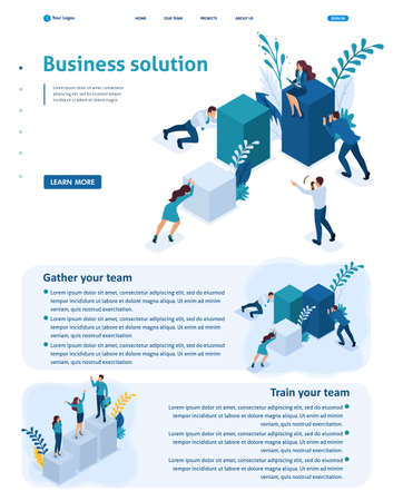Set Isometric Website Template Landing page app Employees working together to create a business solution.