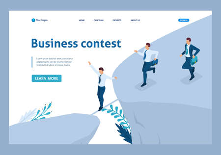 Isometric Business concept, participate in Business competitions. Template Landing page.